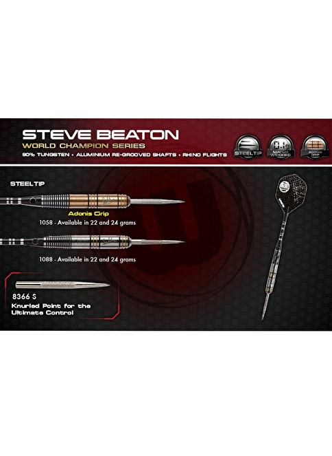 Winmau Steve Beaton %90 Tungsten Çelik Uçlu Dart Adonis Grip - 22 Gram Renkli